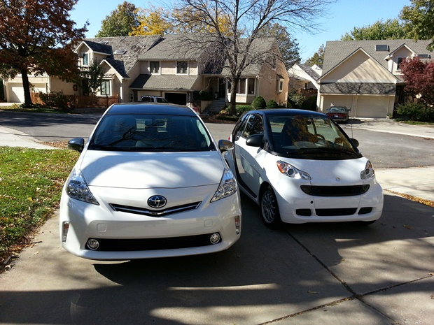 Our Prius V Sitting By The Smart Fortwo That I Ed For One Month While My